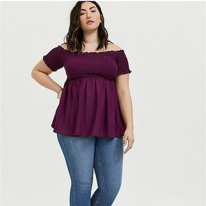 Torrid off shoulder smocked purple shirt